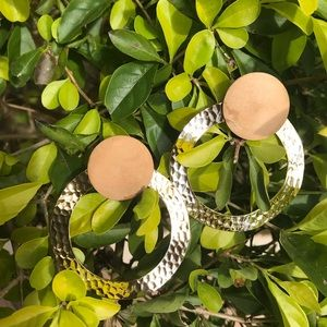 Hammered Gold Hoops with Wood Studs
